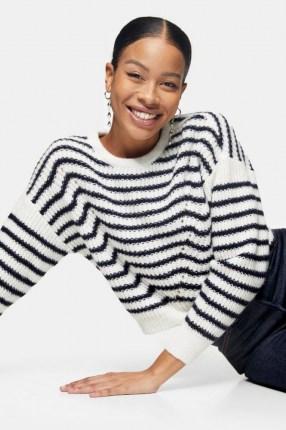 Topshop Stripe Wave Knitted Jumper | striped drop shoulder jumpers - flipped