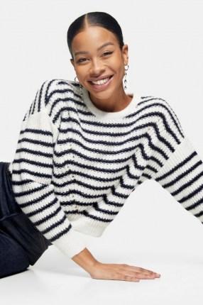 Topshop Stripe Wave Knitted Jumper | striped drop shoulder jumpers