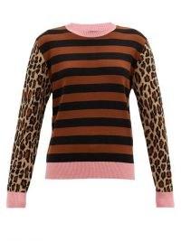 Mixed pattern jumper   MSGM Striped and leopard-jacquard wool-blend sweater