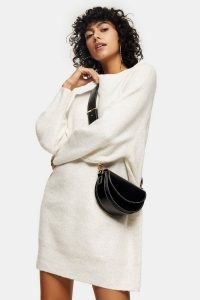 Topshop Super Soft Oversized Knitted Dresss   crew neck sweater dresses