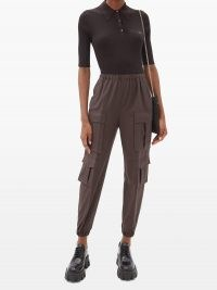 PRADA Tailored wool-crepe cargo trousers ~ brown side pocket pants