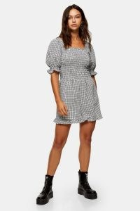TOPSHOP TALL Black And White Shirred Gingham Dress / smocked check print dresses