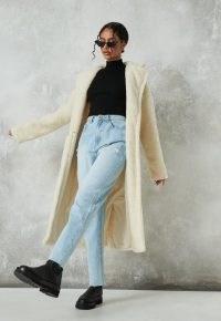 MISSGUIDED tall cream borg teddy crombie coat / textured winter coats