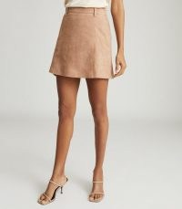 REISS TAMARAH SNAKE PRINT LEATHER MINI SKIRT NEUTRAL ~ luxe skirts