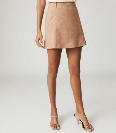 REISS TAMARAH SNAKE PRINT LEATHER MINI SKIRT NEUTRAL ~ luxe skirts - flipped