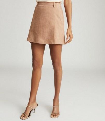 REISS TAMARAH SNAKE PRINT LEATHER MINI SKIRT NEUTRAL ~ luxe skirts