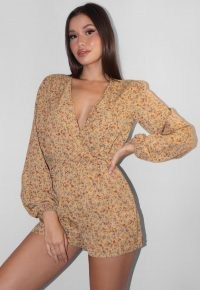 Missguided tan floral long sleeve plunge neck playsuit | deep V neckline playsuits