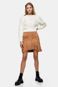 TOPSHOP Tan Suede Fringing Tassel Mini Skirt