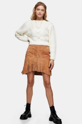 TOPSHOP Tan Suede Fringing Tassel Mini Skirt - flipped