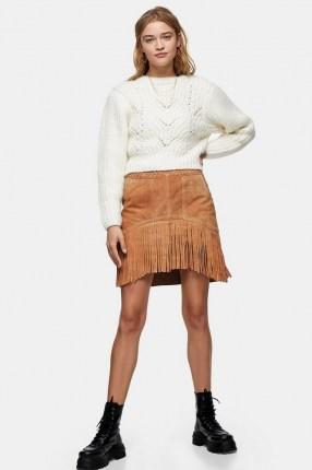TOPSHOP Tan Suede Fringing Tassel Mini Skirt