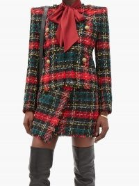 BALMAIN Tartan tweed jacket / textured jackets with padded shoulders