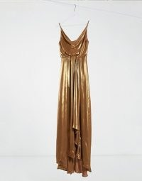 TFNC cowl neck cami strap maxi dress with train in gold / evening glamour / long metallic occasion dresses / liquid look fashion