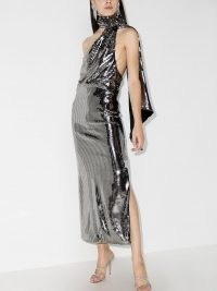 The Attico sequinned halterneck dress | silver sequin party dresses | eveing glamour
