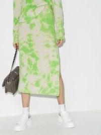 The Elder Statesman tie-dye knitted skirt white/green | designer knits | side slit cashmere skirts