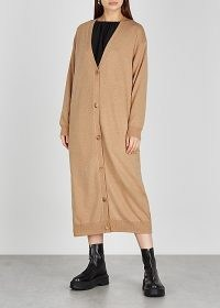 THE ROW Armando camel longline cashmere cardigan ~ long light brown cardigans