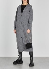THE ROW Armando grey longline cashmere cardigan ~ luxury designer cardigans ~ luxe knitwear