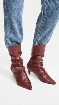 THE VOLON S.Dico Layer Boots burgundy / ruched kitten heel boots