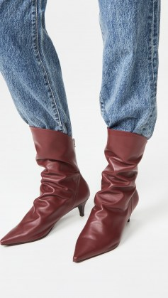 THE VOLON S.Dico Layer Boots burgundy / ruched kitten heel boots - flipped