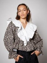 SISTER JANE Quickstep Ruffle Wrap Top / ruffled leopard print tops / statement ruffles