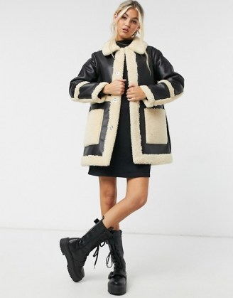 Topshop reversible borg shacket in black and cream ~ winter coats ~ textured faux fur trim shackets - flipped