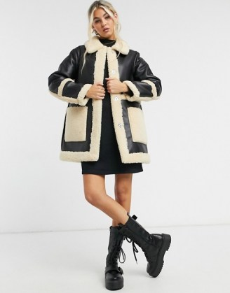 Topshop reversible borg shacket in black and cream ~ winter coats ~ textured faux fur trim shackets