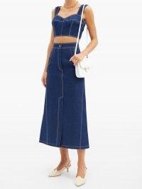 VIKA GAZINSKAYA Topstitched denim midi skirt ~ A line front slit skirts