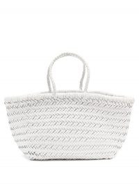 DRAGON DIFFUSION Triple Jump small woven-leather basket bag ~ white hand crafted bags