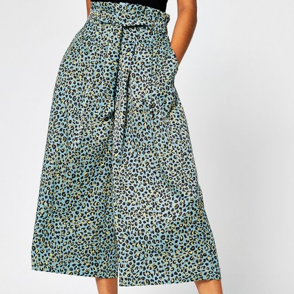 RIVER ISLAND Turquoise leopard print tie culottes / cropped wide leg trousers - flipped