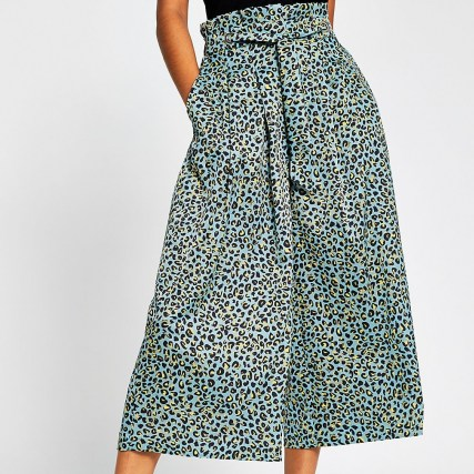 RIVER ISLAND Turquoise leopard print tie culottes / cropped wide leg trousers