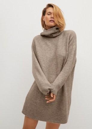 MANGO TALDORA Turtle neck knit dress   chic knits   neutral knitted dresses - flipped