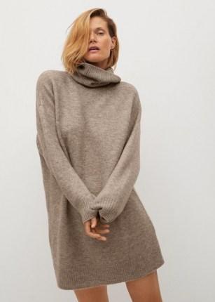 MANGO TALDORA Turtle neck knit dress   chic knits   neutral knitted dresses
