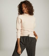 REISS TYLER HIGH NECK KNITTED TOP PINK ~ contemporary knitwear ~ chic draped jumper