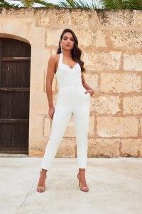 LAVISH ALICE underwired bustier halter neck jumpsuit in white – close fit jumpsuits