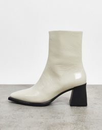 Vagabond Hedda leather flared heel ankle boots in white patent / plaster | retro square toe boot
