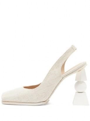 JACQUEMUS Valerie slingback linen sandals ~ sculpted heels ~ open toe slingbacks - flipped
