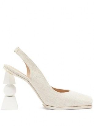 JACQUEMUS Valerie slingback linen sandals ~ sculpted heels ~ open toe slingbacks