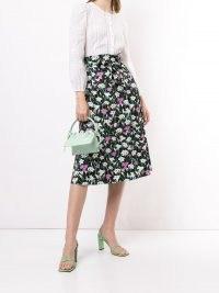 Veronica Beard Avi floral print A-line skirt | tie waist skirts
