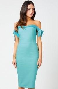 Vesper Dione Crystal Sea Bardot Dress – fitted off the shoulder dresses – bodycon evening wear