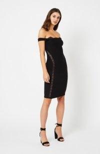 Vesper Elita Black Bardot Midi Dress – LBD – off the shoulder stretch fabric dresses – glamorous evening fashion