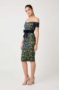 Vesper Jessie Lime Lace Bow Bardot Dress – off the shoulder party dresses
