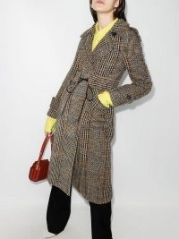 Victoria Beckham checked double-breasted coat / brown wool mix trench style coats