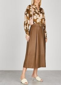 VINCE Brown belted leather midi skirt ~ luxe skirts