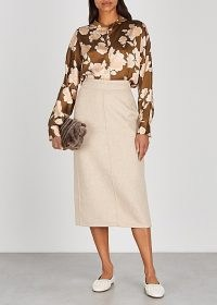 VINCE Oatmeal wool-blend midi skirt ~ neutral slim skirts