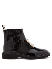 ROGER VIVIER Viv Rangers crystal-buckle patent-leather boots ~ glossy embellished boot ~ glamorous luxe footwear