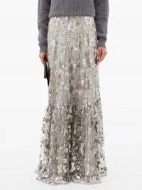 ERDEM Viviane floral-embroidered mesh-overlay maxi skirt ~ long luxe skirts