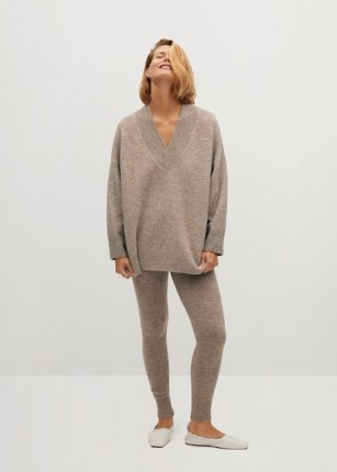 MANGO TALDORA V-neck sweater | oversized drop shoulder sweaters | brown slouchy jumper | jumpers | knitwear - flipped