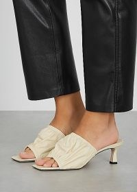 WANDLER Ava 50 ivory leather mules / ruched mule sandals