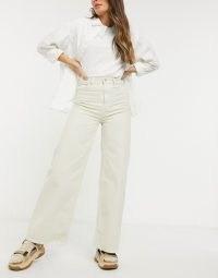 Weekday Ace organic cotton wide leg jeans in tinted ecru | light denim