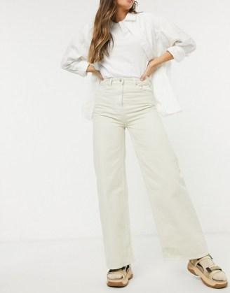 Weekday Ace organic cotton wide leg jeans in tinted ecru | light denim - flipped