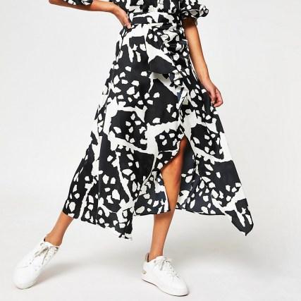 RIVER ISLAND White animal print wrap maxi skirt / ruffled skirts - flipped